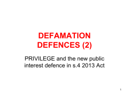 DEFAMATION defences 2