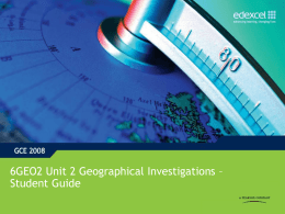 Unit 2 - Geographical Investigations - Student Guide