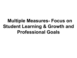 Focus on Student Learning & Growth and Professional Goals