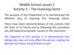 Middle School Lesson 2 Guessing Game 10-10-14