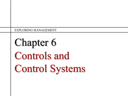 Ch 6 Controls and Control Systems