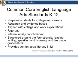 ELA/Literacy Common Core Overview PowerPoint Presentation