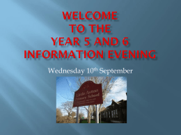 Year 5 and 6 information evening 2014