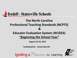 EDUCATOR EFFECTIVENESS: Updates on Standards 6 an 8