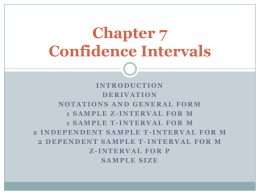 Chapter 7 Confidence Intervals