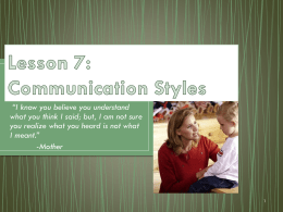 Lesson 7: Communication Styles