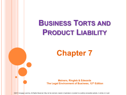 Product Liability/Intellectual Property-