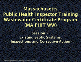 MA PHIT- Wastewater Certificate Program, Session 7