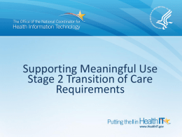 Stage 2 ToC Objective: Options for State HIE