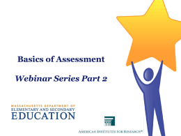 DDM Webinar Part 2 - Massachusetts Department of Education
