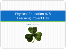 Physical Education 4/5 Learning Project Day