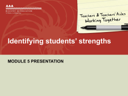 Module 5 Presentation Identifying students* strengths