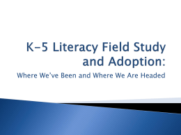 Welcome K-5 Literacy Review Committee