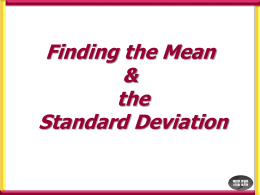 Finding the mean & Standard Deviation