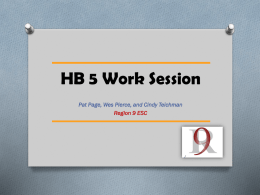 HB 5 Worksession revised 1-8-2014