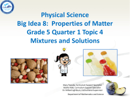 SC.5.P.8.3 Mixtures and Solutions