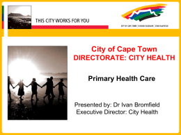 City Health Presentation by the City of Cape Town