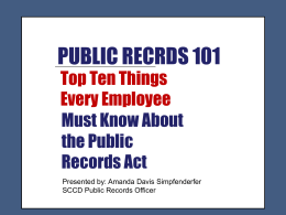 Public Records Act Training Presentation March 2014 post