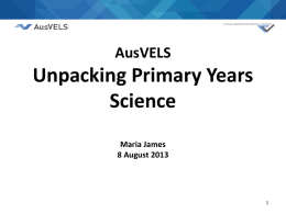 ausvels science primary