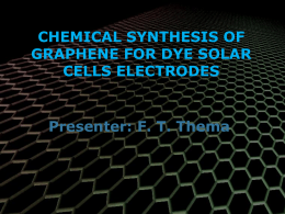 Chemical synthesis of graphene for dye solar cells electrodes