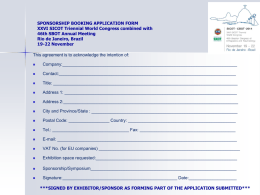 SICOT 2014, SBOTRio de Janeiro, Brazil Application form
