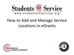 Adding a Service Location to eGrants