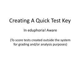 Creating A Test Answer Key