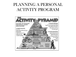 PLANNING A PERSONAL ACTIVITY PROGRAM lesson 3
