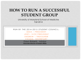 How to Run a Successful Student GroupPPT