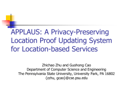 APPLAUS: A Privacy-Preserving Location Proof