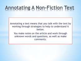 Annotating A Non-Fiction Text