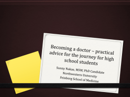 Becoming a Doctor-Advice for high school students