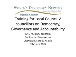 Training for local council V councillors on Democracy, Governance