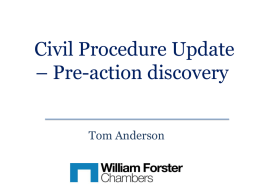 Tom Anderson – Pre-Action Discovery CPD