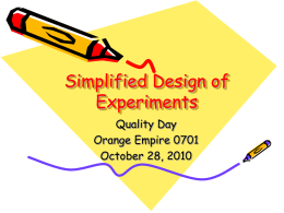 Simplified Design of Experiments