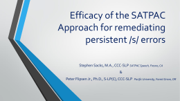 Efficacy of the SATPAC Approach for remediating