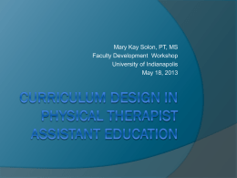 Curriculum Design in Physical Therapist Assistant Education