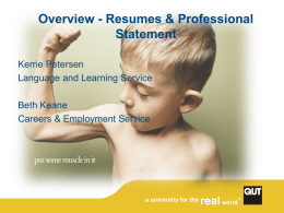 Writing Your Resume and Personal Statement (for final year