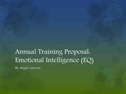 Annual Training Plan Proposal: Emotional Intelligence (EQ)