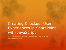 Creating Knockout User Experiences in SharePoint