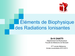INETRACTION DES RAYONNEMENTS IONISANTS