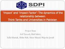 Impact Factor - Think Tank Initiative