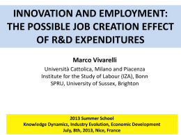 the possible job creation effect of r&d expenditures