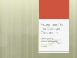 Assessment in the College Classroom
