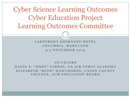 learning outcomes - The Cyber Education Project