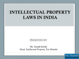 INTELLECTUAL PROPERTY LAWS IN INDIA by Mr Koshy