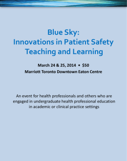 Blue Sky: Innovations in Patient Safety Teaching and - SIM-one