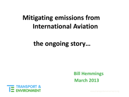 Mitigating Emissions from International Aviation