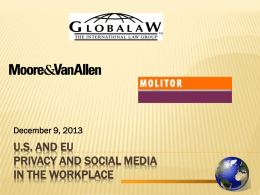 U.S. AND EU Privacy and Social Media in the Workplace