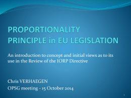 Proportionality principle in EU legislation An introduction to